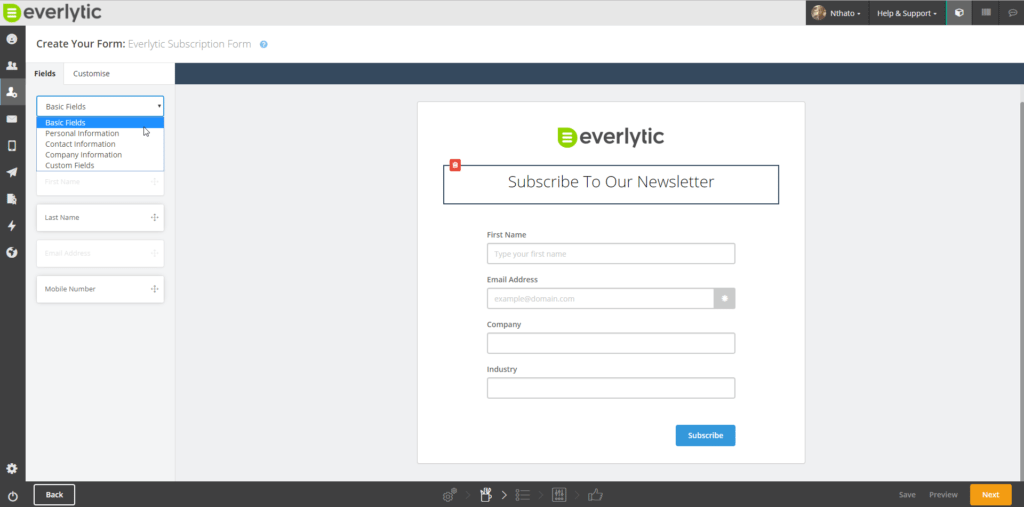 Marketing Automation Software - Email Subscription form image - Everlytic
