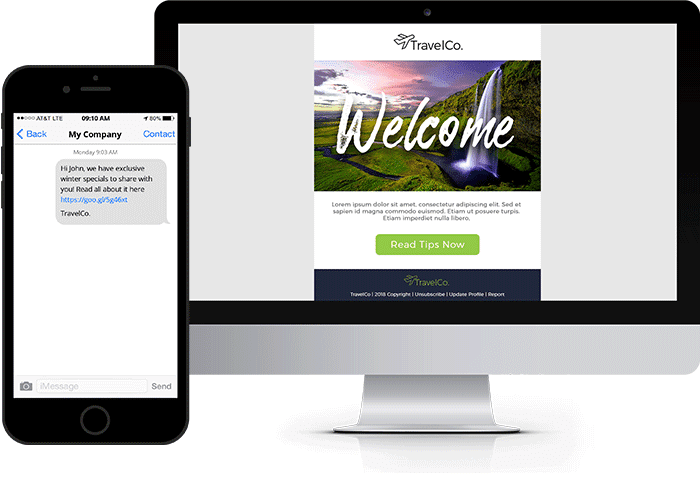 Email SMS Platform | Everlytic | Travel | Hospitality | SMS Example | Email Example | Device Image