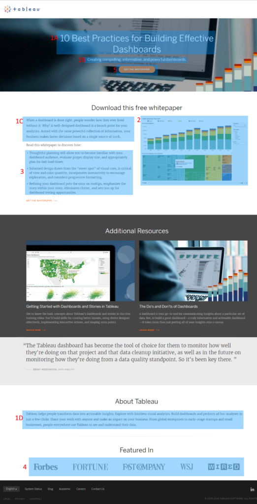 How to Get the Most Out of Landing Pages (Part 2) | Landing page example | Tableau