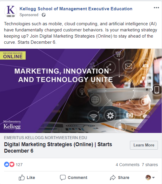 How to Get the Most Out of Landing Pages (Part 2) | Digital marketing | Landing page example | Kellogg School of Management Executive Education | Facebook ad