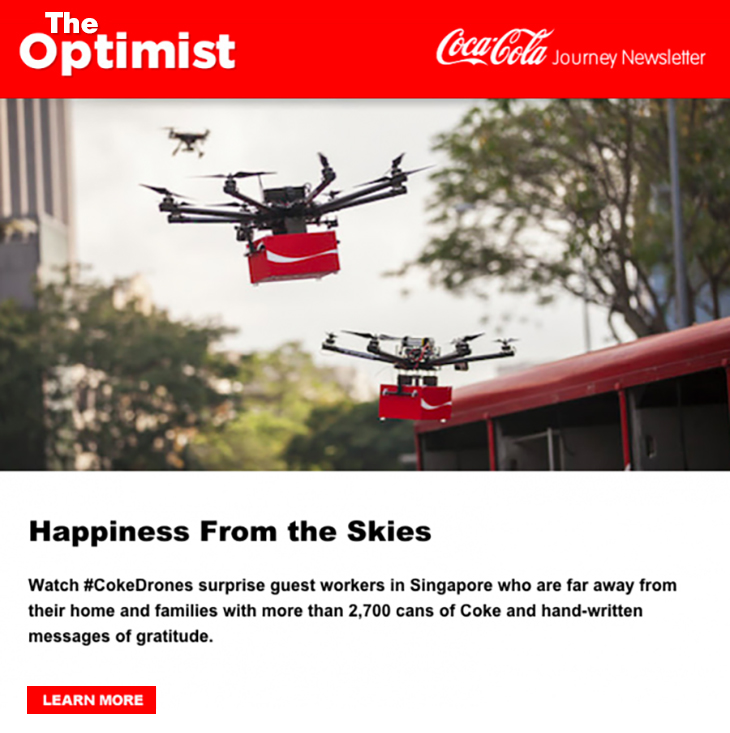 Boost Your Email Marketing with Social Proof. Here's How. | Coca-Cola link to social media campaign from email | friends social proof | Everlytic | #CokeDrones | Singapore | The Optimist