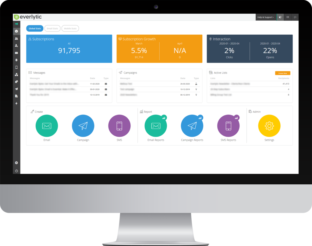 Automated Marketing Report Dashboard | Bulk Email and Bulk SMS | Image example reporting dashboards