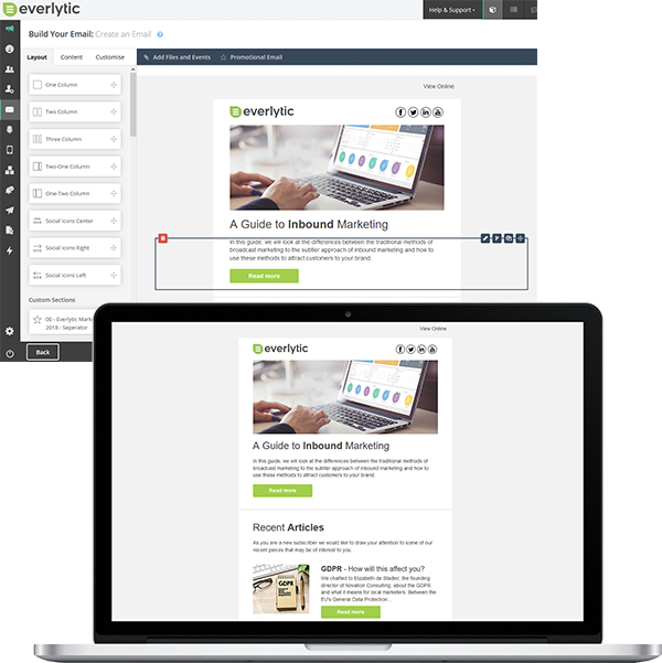 Email template builder | Bulk Email Marketing | Image of email builder | Everlytic