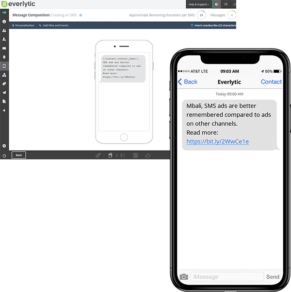 Bulk SMS marketing tools | Image example of mobile message on mobile device | Everlytic