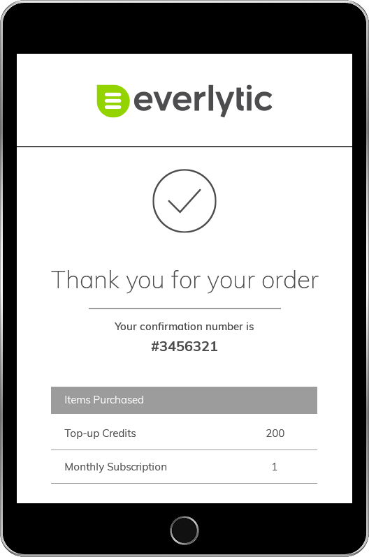 Everlytic | Transactional Message Example on Tablet